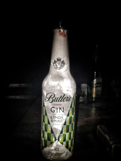 Bottle Black Background Alcohol Drink Close-up Liquid Text Indoors  Drinking Glass London Gintonic Lemon&mint First Eyeem Photo