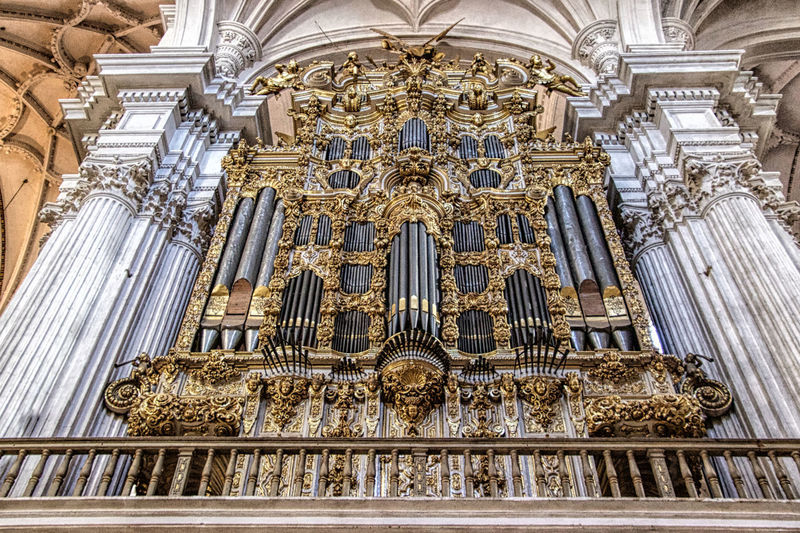 Catedral de Granada Religion Place Of Worship Built Structure Architecture Belief Spirituality Building Exterior Pipe Organ Musical Instrument Building Travel Destinations Music Low Angle View The Past History No People Architectural Column Ornate Altar Ceiling Gothic Style