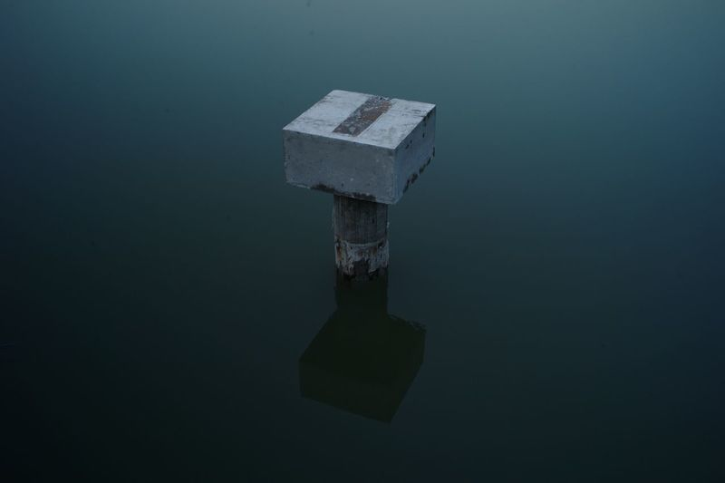 High angle view of water on table
