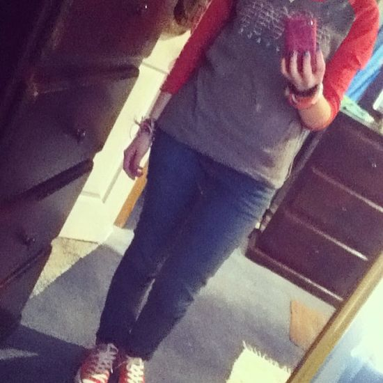 January14 Ootd Jeans Converse niners (: