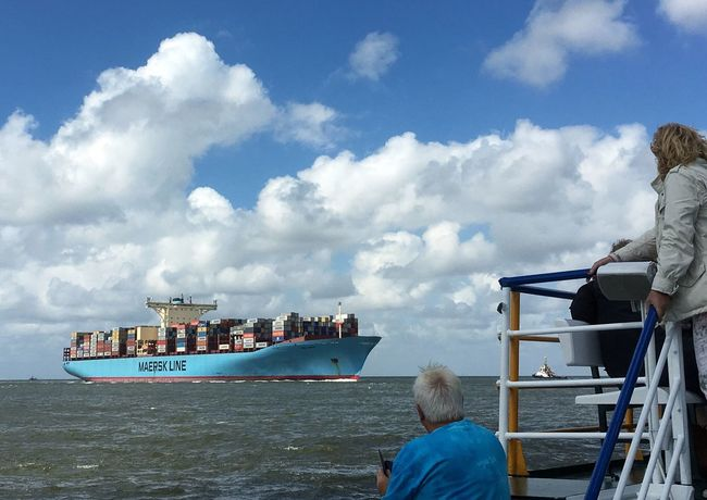 • Ship Spotting • Cloud - Sky Sky Nautical Vessel Container Ship Vessel Real People Transportation Outdoors Water Mobilephotography in Cuxhaven Harbour Cruise