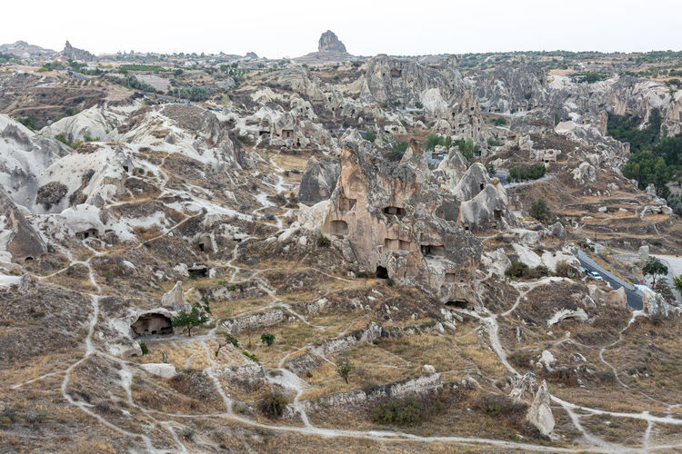Aerial view of rock formations