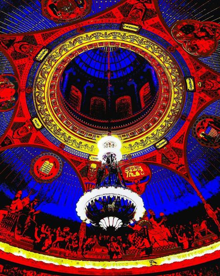 Redyellowblue B&wtoo Full Frame Pattern Backgrounds Design Multi Colored Ornate Illuminated No People Indoors  Close-up Concentric Architecture Day