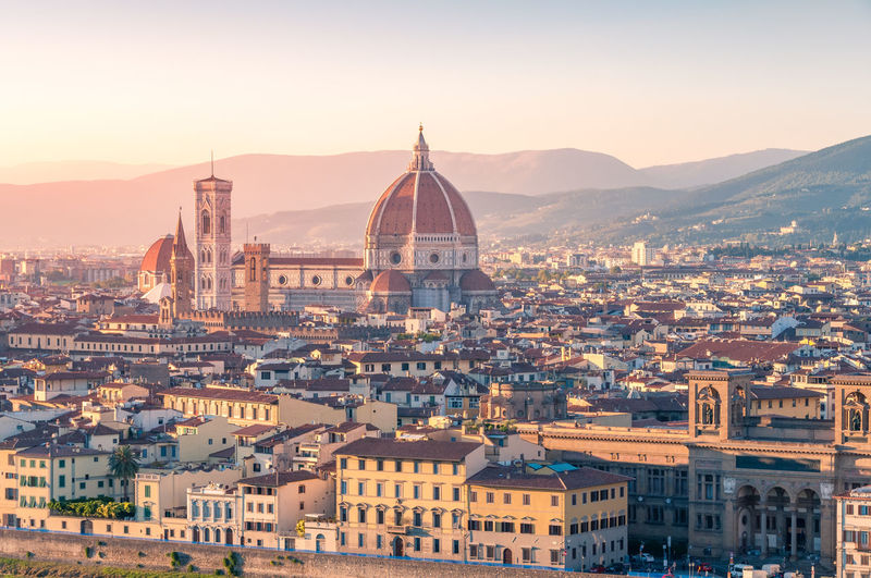 High angle view of townscape against sky in city. florence, italy