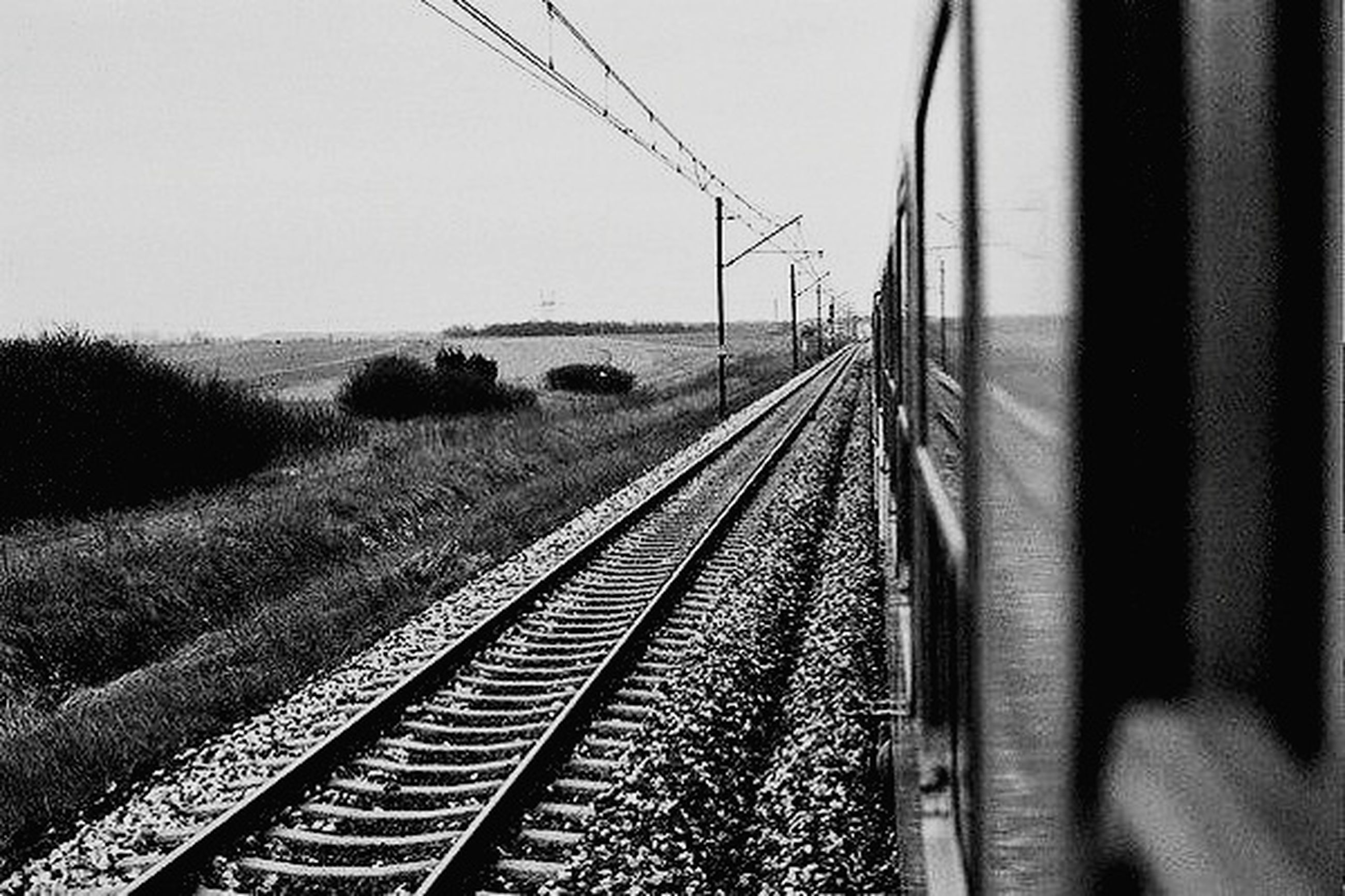 transportation, railroad track, no people, rail transportation, day, outdoors, connection, sky, nature