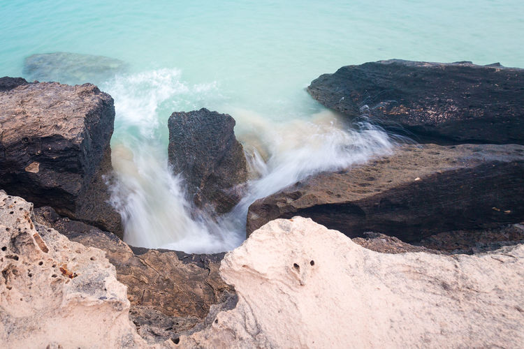 Beauty In Nature Day High Angle View Motion Nature No People Outdoors Rock - Object Scenics Sea Water