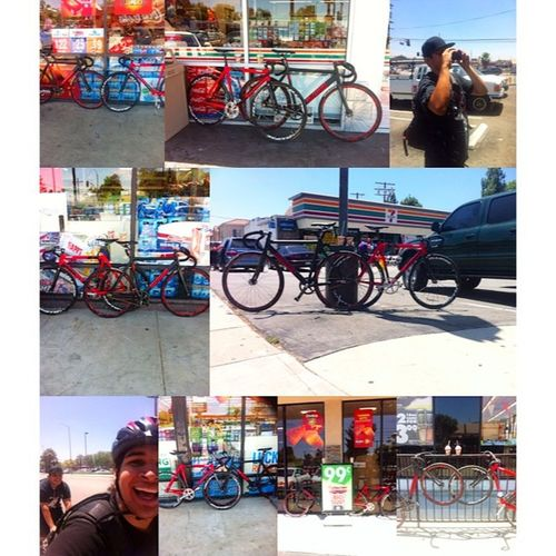 Slurpee masters bitches!! Slurpee Master 711  7Eleven  711day swag sffg neverforget2011 tradition 3rdyear engine11 unkown lv1 tarckbike fixedgear thefixedlife caughtgramin cycling selfie SLURPEEMASTERS