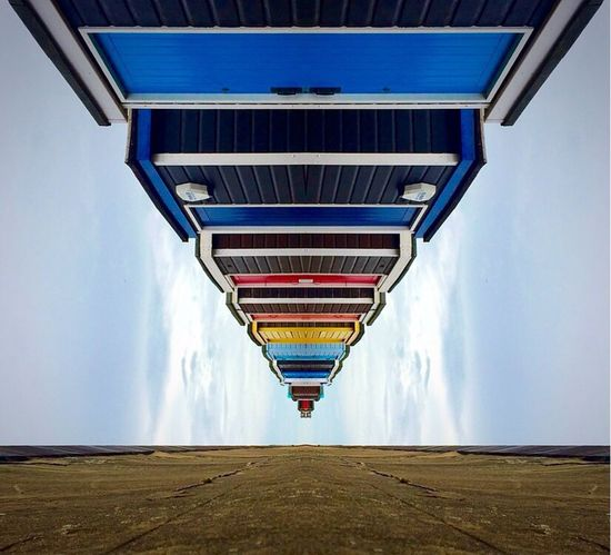 Architecture Built Structure Modern Connection Low Angle View The Way Forward Diminishing Perspective Sky Multi Colored Blue Day Outdoors Engineering No People Mirrored Splitpic  Split Abstract Photography Abstract