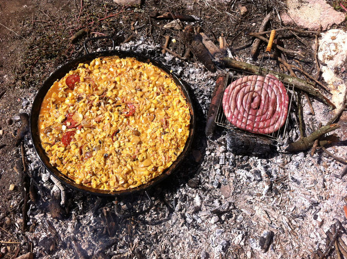 Catalan Close-up Day Firewood Food France Grill Healthy Eating No People Omelette Outdoors Sausage