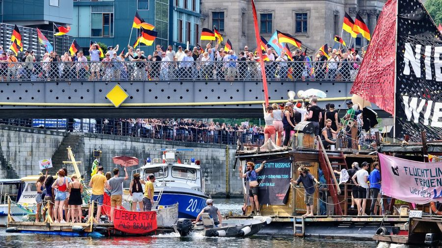Demonstration On Water Adult Against Racism! Anti Afd Building Exterior City Crowd Day Demonstration Flag Group Of People Large Group Of People Lifestyles Men Mode Of Transportation Nautical Vessel Real People Transportation Water Women #FREIHEITBERLIN The Street Photographer - 2018 EyeEm Awards The Photojournalist - 2018 EyeEm Awards