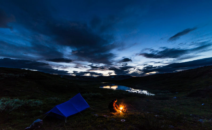 August hiking along The King's Trail in northern Sweden Atmosphere Atmospheric Mood Autumn Blue Campfire Camping Dark Fire Hiking Illuminated Kungsleden Landscape Mountain Nature Non-urban Scene Oldschool Outdoors Scandinavia Sky Sunset Sweden Tent The Kings Trail Tourism Vacations