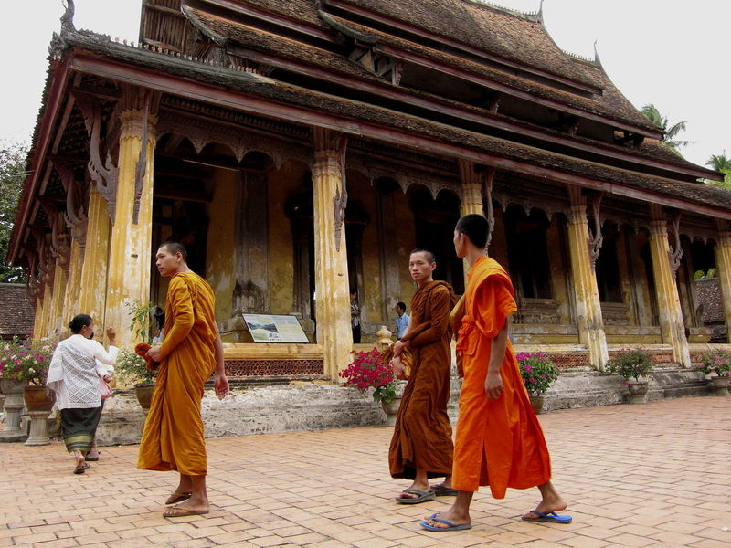 Architecture Bouddhism Bouddhist Monks Bouddhist Temple Building Exterior Built Structure Columns Day Laos Men Monks Orange Robes Outdoors People Real People Temple Togetherness Travel Destinations Vientiane Wat Si Saket
