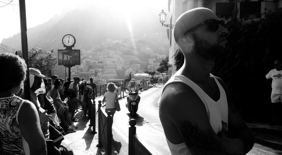 Positano Black And White Real People Group Of People Crowd Lifestyles Women Sunlight Large Group Of People Day Leisure Activity Outdoors