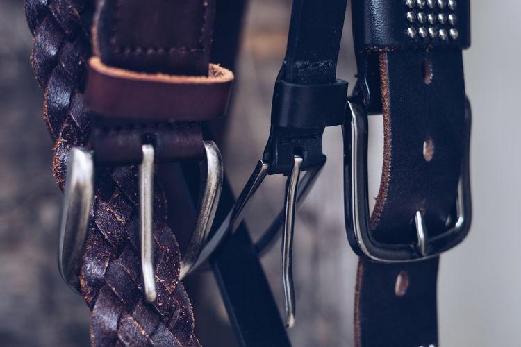 Close-up of belts
