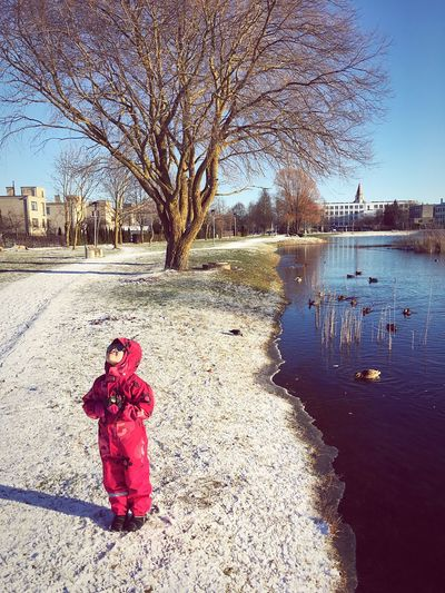 Bare Tree Childhood One Person Tree Full Length Outdoors Standing Day Clear Sky Winter Water Children Only Hanging Out Check This Out Lithuania Pond Naujoji Akmene Lietuva Europe EyeEm Ready   DashaDemidova