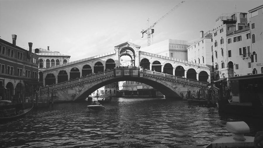 Traveling Under The Bridge Ponte Di Rialto Venice, Italy