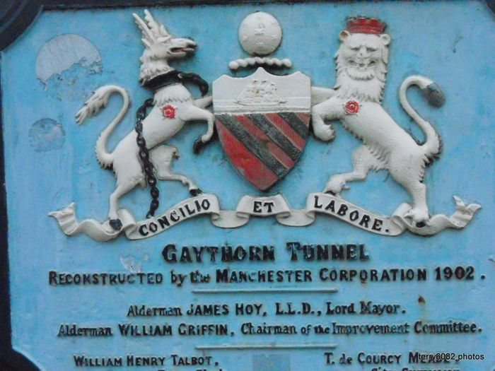 Blue Canal Bridge Close-up Communication Concilio Et Labore Day Gaythorn Tunnel Manchester Corporation Manchester History No People Outdoors Text