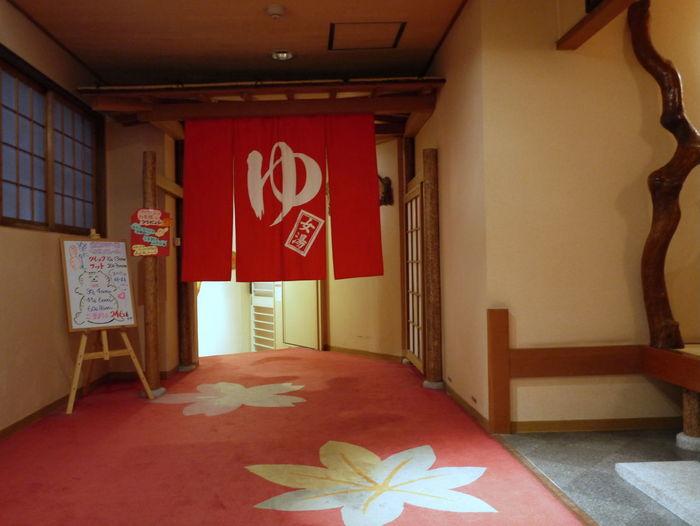 Bathe Door Curtain Entrance Hot Springs Illuminated Japanese Onsen Japanese Writing Red