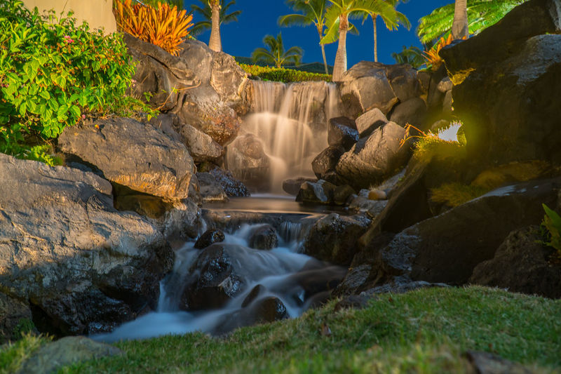 Waterfall Water Feature Night Stream - Flowing Water Close-up Long Exposure Grand Hyatt Kauai Water Outdoors Waterfalling Waterfoam Nightphotography EyeEmNewHere