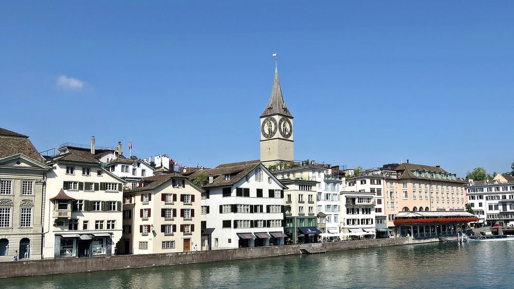 Limmat Architecture Building Exterior Built Structure City Clear Sky Day Limmat Limmatquai Outdoors River Schweiz Switzerland Town Water Waterfront Zürich