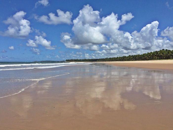 Reflections Ocean Beautiful Colours.... Nature Clouds Beach Life Rota Dos Coqueiros Pernambuco Brazil Northeast Of Brazil Beautiful Nature Deserted Beach