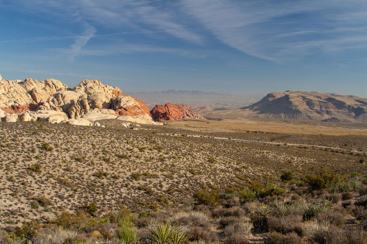 Scenic view of desert against sky. red rock canyon, nevada