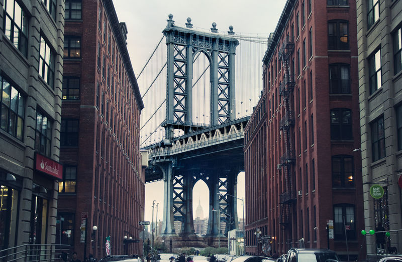 A picture of the Manhattan Bridge taken in Brooklyn. America Architecture Bridge Brooklyn Building Exterior Built Structure Christmas City Day Dusk Empire State Building Holidays Manhattan No People Outdoors Sky Street Sunset Travel Destinations