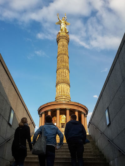 Low Angle View Of Historic Victory Column/siegessäule In Berlin, Germany
