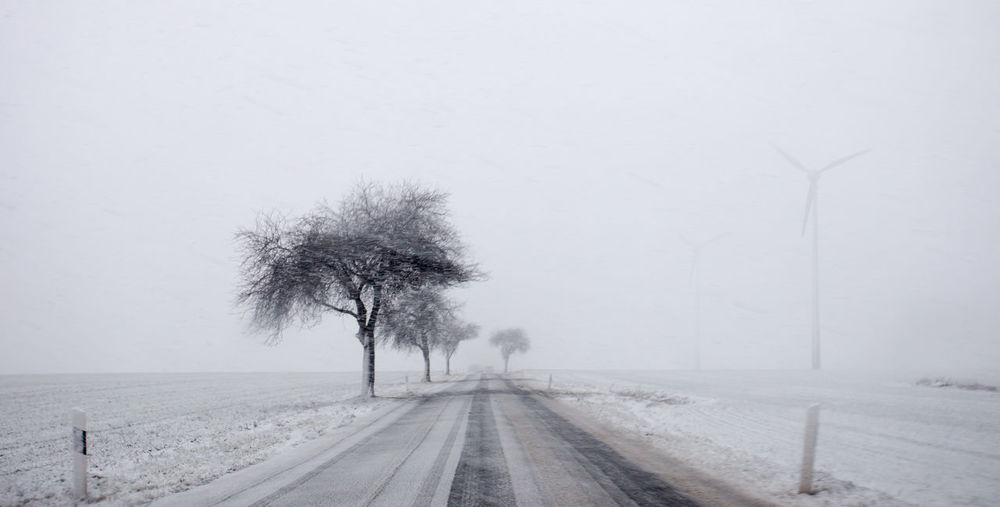 a narrow country road in winter, in the state of Brandenburg (Germany) Lonely Accident Risk Bare Tree Beauty In Nature Branch Cold Temperature Day Fog Landscape Nature No People Outdoors Road Scenics Sky Smooth Snow Snowing The Way Forward Tranquility Transportation Tree Weather Winter