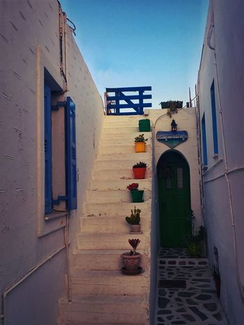 Koufonisia Greece Alley Architecture Blue Building Building Exterior Built Structure Clear Sky Day Direction Door Entrance House Nature No People Open Outdoors Residential District Sky Staircase The Way Forward Window