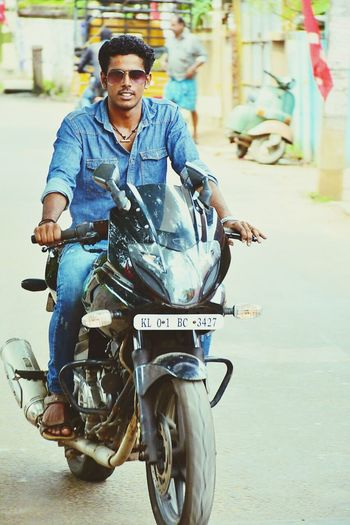 Only Men City Biker Motorcycle One Man Only Adults Only Transportation One Person Jeans Outdoors Sitting Full Length Looking At Camera Front View Men Adult Day People Happiness Young Adult First Eyeem Photo