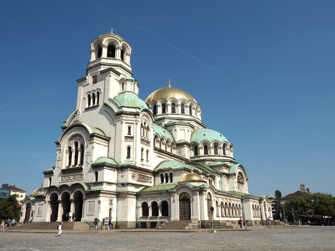 Low Angle View Of St Alexander Nevsky Cathedral Against Clear Sky