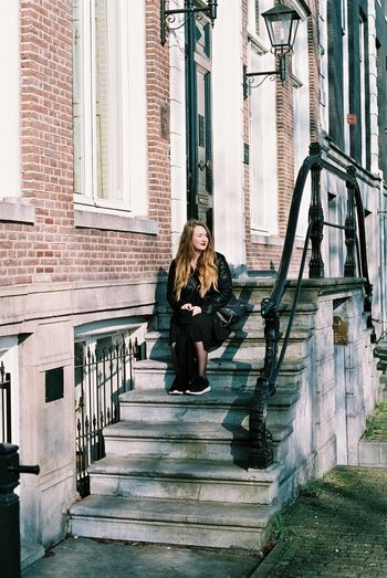 Analog 35mm Full Length One Person Steps Disappointment Loneliness Building Exterior Blond Hair People Adult Outdoors Depression - Sadness Staircase Young Adult Social Issues Women Steps And Staircases One Woman Only Day Young Women Amsterdam Amsterdam Canal Amsterdamse Grachten