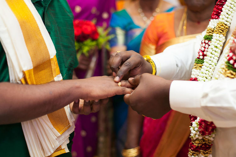 Groom Putting Ring Onto Brides Finger In Traditional South Indian Wedding