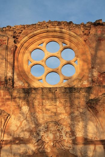 Architecture Blue Built Structure Sky Clear Sky No People Low Angle View Day Outdoors Taking Photos Check This Out Hanging Out Enjoying Life History Architecture Architecture_collection Monastery Monasterio De Piedra Sunset Sunlight Ruin Architectural Feature Historical Building Travel Destinations