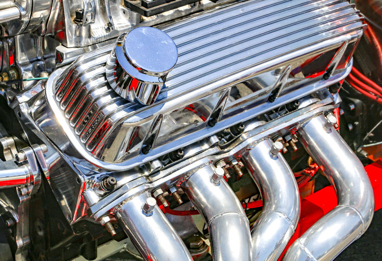 Close-up of vintage car engine
