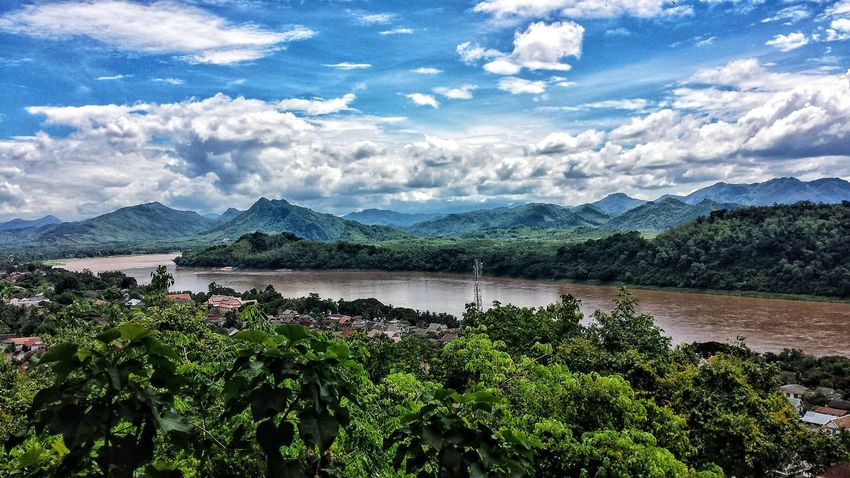 Beauty In Nature Cloud - Sky Day Growth Lake Landscape Mountain Mountain Range Nature No People Outdoors Plant Scenics Sky Tranquil Scene Tranquility Tree Mekong River