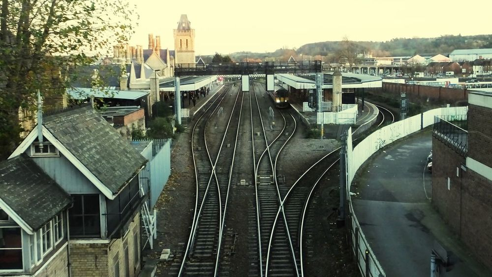 Transportation Built Structure Rail Transportation Railroad Track Architecture Building Exterior Sky No People Outdoors Tree Day Connection Daily Commute View From The Bridge Lincoln City Lincoln Travel Destinations Train Now Departing British Rail Train Station Train Train Tracks Comuters
