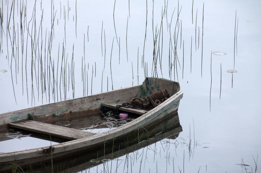 Boat Day Gear Heavy Iron Lake Mode Of Transport Moored Nature Nautical Vessel No People Outdoors Reflection Sunken Tranquility Transportation Water Wood - Material