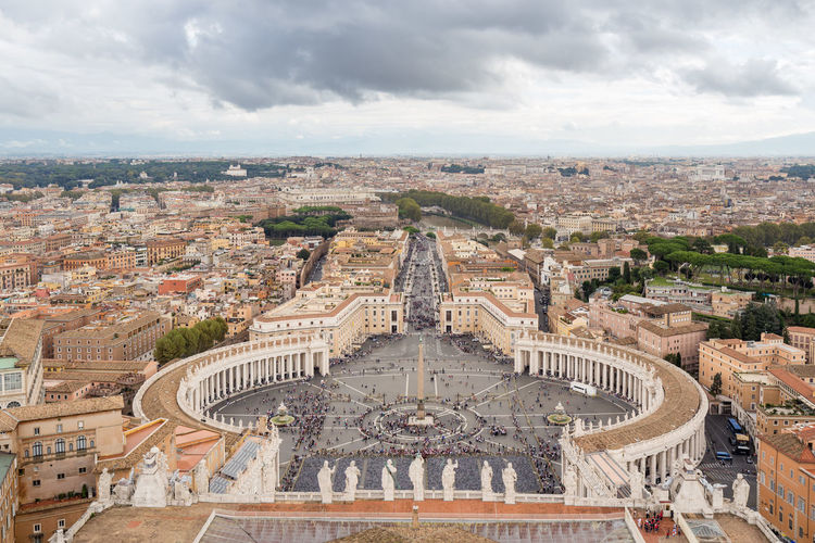 Panorama of Rome, taken from the dome of St. Peter's Basilica, Italy Architecture Building Exterior Built Structure Cloud - Sky City Cityscape Sky High Angle View Building Outdoors Rome Roma Italy Panorama Aerial View Cityscape City Vatican VaticanCity Pope St Peters Basilica Basilica Basilica Di San Pietro In Vaticano