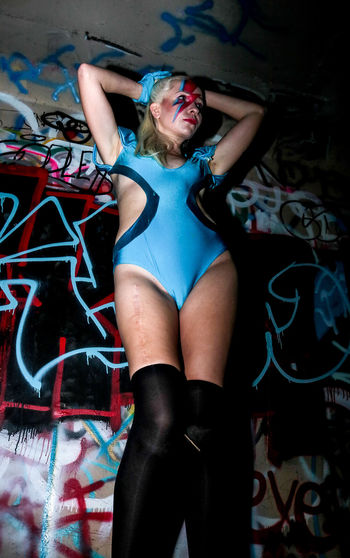 EyeEm Selects Only Women One Woman Only Lifestyles Portrait Indoors  Model Female Model Artist Graffiti Tiina K David Bowie Tribute Lady Stardust David Bowie Dedication Beautiful Woman Arts Culture And Entertainment Face Paint Stage Make-up Blond Hair Make-up Front View Beautiful People Blue Mystery Music