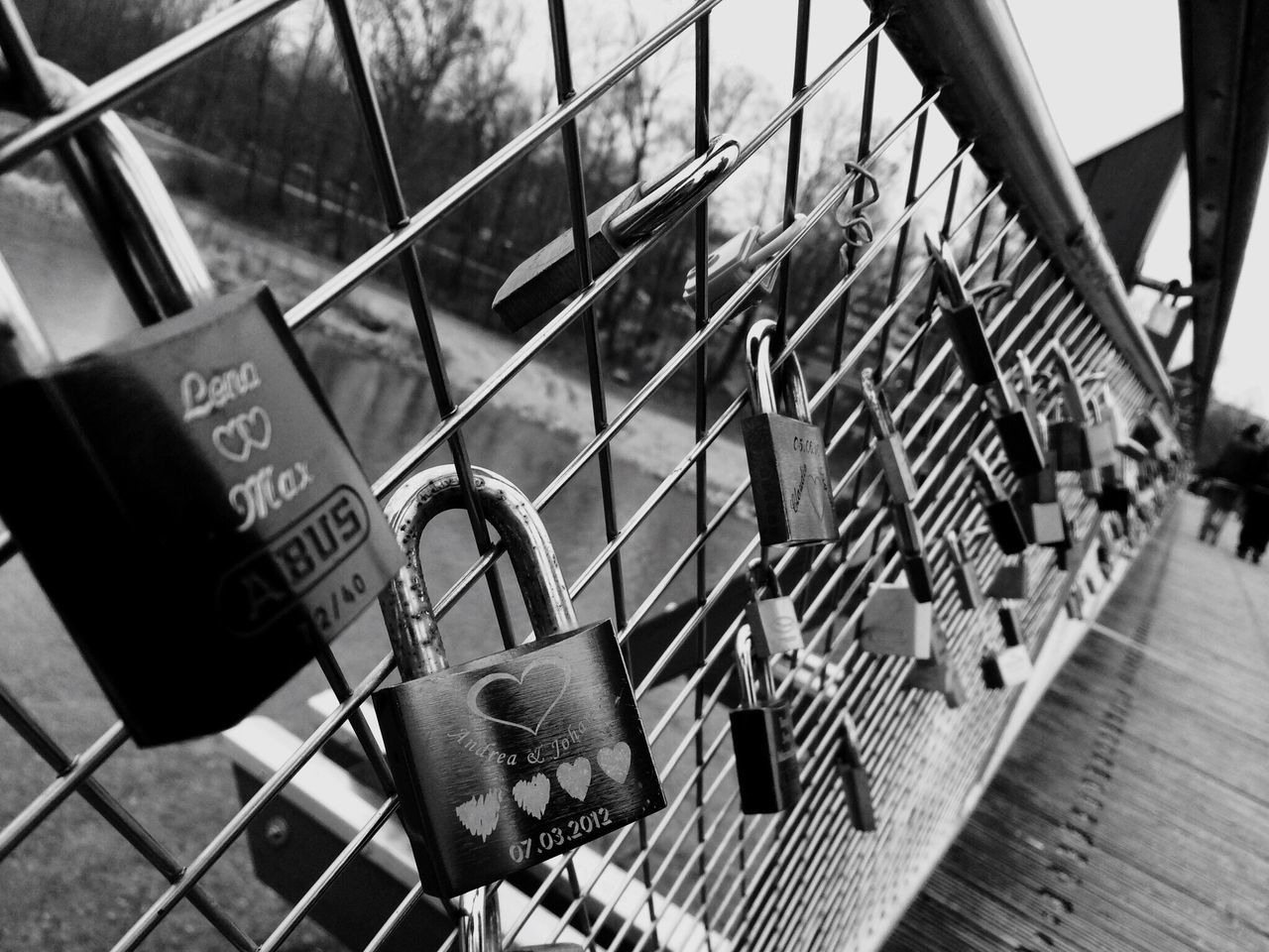 Love Locks On Railing On Footbridge