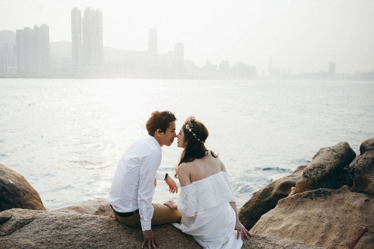 Wedding Bonding Bride Love ♥ Real People Sunset Togetherness Two People Wedding Dress Young Women