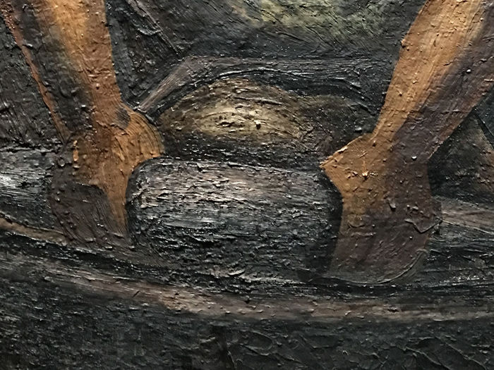 """Exhibition """"Mexique 1900-1950. Diego Rivera, Frida Kahlo, José Clemente Orozco et Les Avant-Gardes"""". Grand Palais des Beaux-Arts, Champs-Élysées, Paris. Detail of """"Mujer con Metade"""", 1931, David Alfaro Siqueiros. (Photographs authorized in the exhibition without flash.) Backgrounds Close-up David Alfaro Siqueiros Day Exhibition Full Frame Grand Palais Paris Museum Nature No People Outdoors Painting Details Paintings Textured  Tree"""