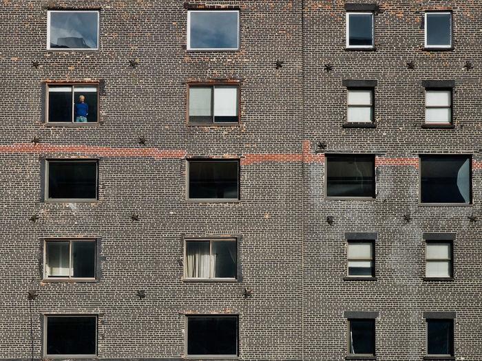 Windows of apartment building