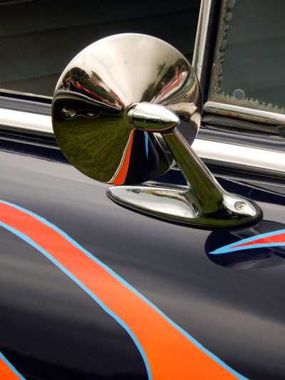 American Car Car Door Close-up Day Door Land Vehicle Mirror Mode Of Transport Multi Colored No People Orange Outdoors Reflection Stationary Transportation Vehicle Mirror Vehicle Part Wing Mirror