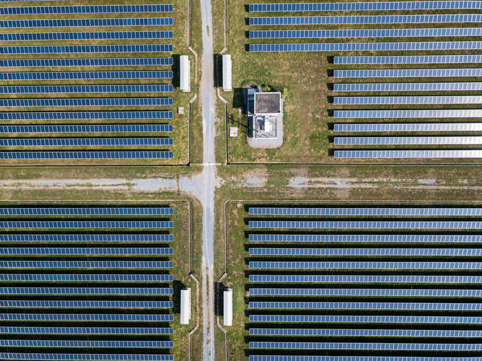 Directly above shot of field with solar panels
