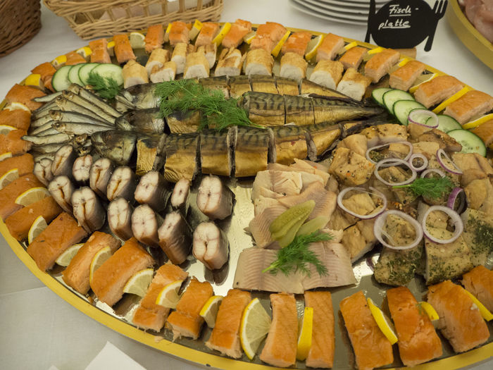 Arrangement Buffet Close-up Fish Food Food And Drink Healthy Eating Mackarel Plate Ready-to-eat Salmon Seafood Serving Size Still Life