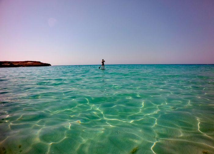 Water Clear Sky Sea Beauty Beach Full Length Paddleboarding Blue Adventure Summer