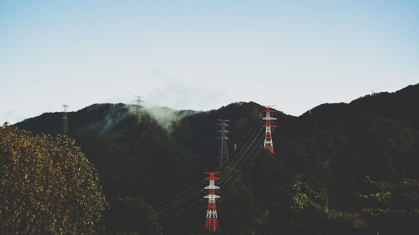 Photography Minimal Landscape Foggy Mountains Foggy Landscape Foggy Forest Electric Wire Electric Tower  Tower Mountain Nature Day Clear Sky Beauty In Nature No People Outdoors Landscape Tree Sky
